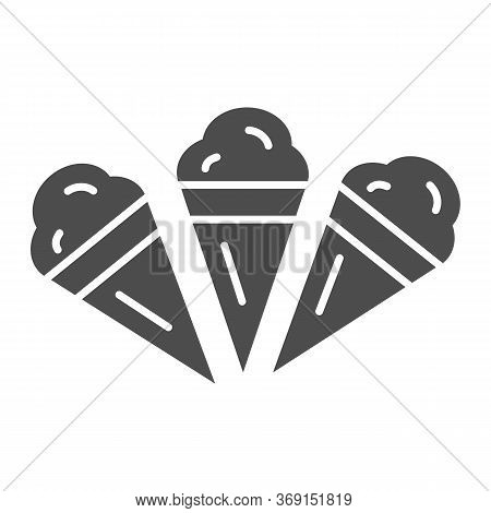 Three Ice Creams Solid Icon, Summer Concept, Set Of Ice Cream Cones Sign On White Background, Ice-cr