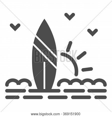 Surfboard And Beach With Sunset Solid Icon, Summer Concept, Surf Sign On White Background, Surfboard