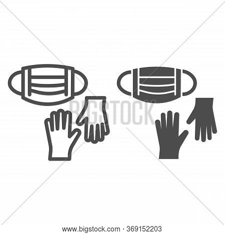 Medical Gloves And Mask Line And Solid Icon, Coronavirus Protection Concept, Mask And Gloves For Vir