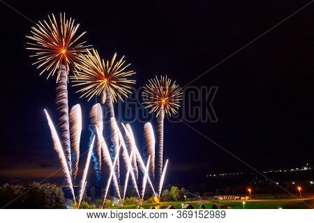Bright Beautiful Colorful Fireworks, Colored Fireworks Lights In The Night Sky, Christmas Fireworks,
