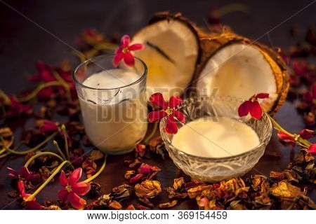 Coconut Face Mask Consisting Of Coconut Milk And Yogurt For Flawless Skin And To Moisturize It. Shot