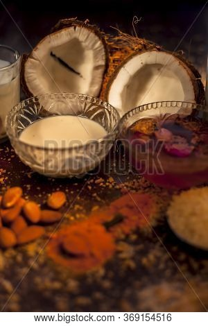Complete Face Mask Of Coconut, Consisting Of Coconut Milk, Rose Water, Yogurt, Buttermilk, Oatmeal,