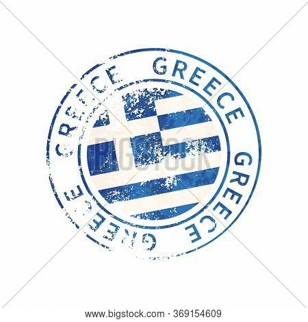 Greece Sign, Vintage Grunge Imprint With Flag On White