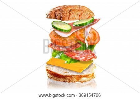 Flying Tasty Sandwich. Sandwich With Flying Ingredients Isolated On White Background.