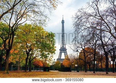 Eiffel Tower And Champ De Mars Park In Autumn, Paris, France