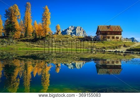 Cute Shelter Hut And Colorful Yellow Redwoods Near The Lake Federa. Beautiful Autumn Scenery In The