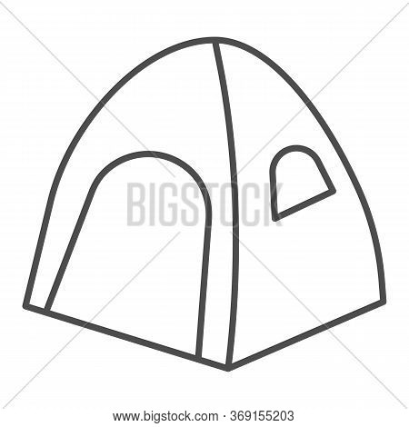 Tent Thin Line Icon, Summer Vacation Concept, Tourist Tent Sign On White Background, Camping Tent Ic