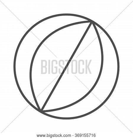Beach Ball Thin Line Icon, Summer Vacation Concept, Rubber Beachball Sign On White Background, Toy B