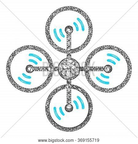Web Mesh Air Copter Vector Icon. Flat 2d Carcass Created From Air Copter Pictogram. Abstract Carcass