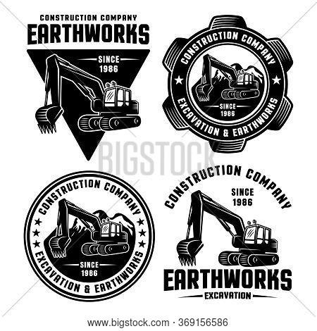 Excavator And Earthworks Set Of Four Vector Black Emblems, Badges, Labels Or Logos For Construction