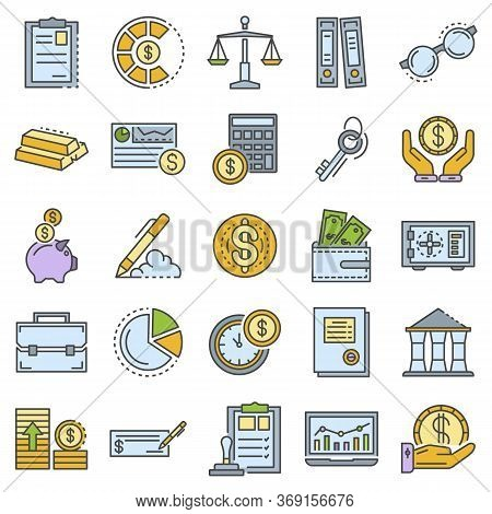 Accounting Day Icon Set. Outline Set Of Accounting Day Vector Icons For Web Design Isolated On White