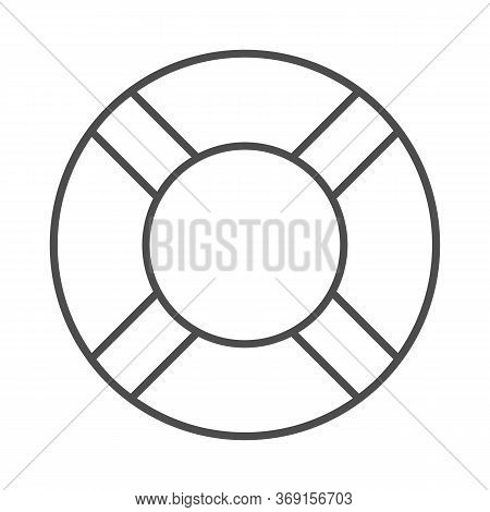 Lifebuoy Thin Line Icon, Summer Concept, Lifesaver Sign On White Background, Life Saving Ring Icon I