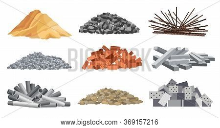 Set Of Heaps Building Material. Bricks, Sand, Gravel And Etc. Construction Concept. Vector Illustrat