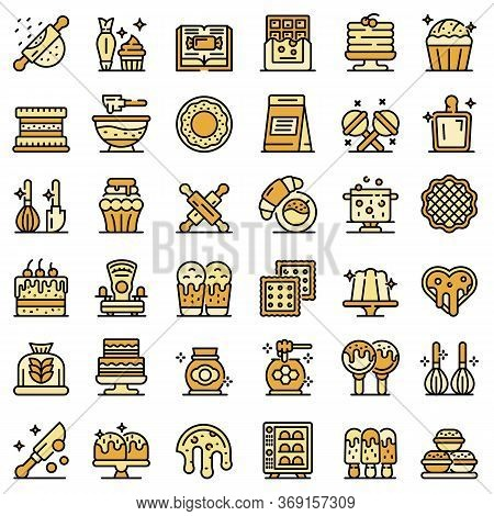 Confectioner Icons Set. Outline Set Of Confectioner Vector Icons For Web Design Isolated On White Ba