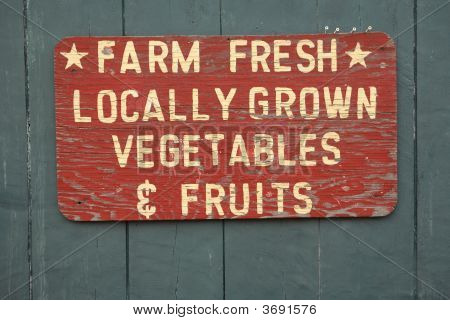 FARM FRESH vegtables and fruits sign at farmers market poster