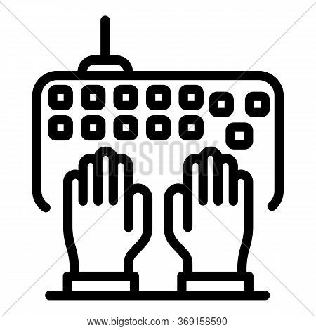 Typing Keyboard Icon. Outline Typing Keyboard Vector Icon For Web Design Isolated On White Backgroun