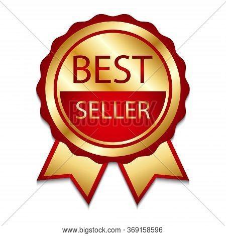 Ribbon Award Best Seller. Gold Ribbon Award Icon Isolated White Background. Bestseller Golden Tag Sa