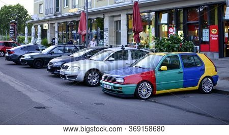 Dresden, Germany. August 29, 2018. Google Mobile. Bright Multi-colored Parked Car