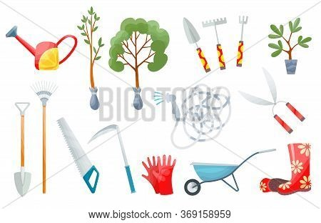 Garden Set. Set Of Various Agricultural Tools For Garden Care, Colorful Vector Flat Illustration. Ga