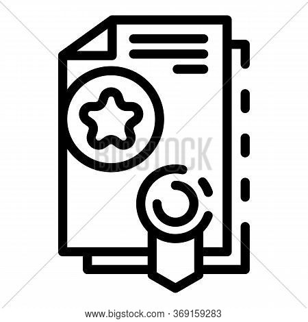 Manager Diploma Icon. Outline Manager Diploma Vector Icon For Web Design Isolated On White Backgroun