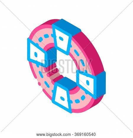 Volunteers Support Life Saver Vector Isometric Sign. Color Isolated Symbol Illustration