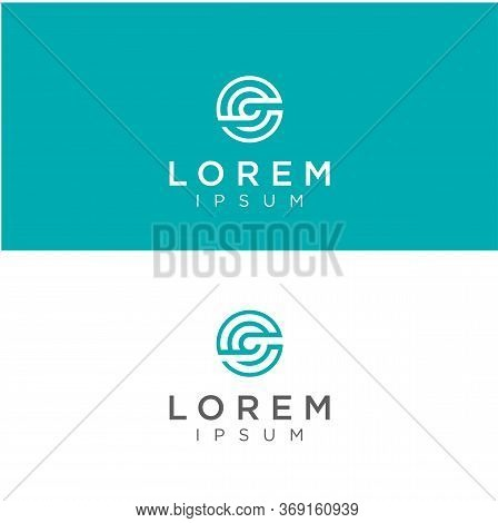 Abstract Circle Letter G C Logo Line Design Consulting Business Industrial Template. Round Initial C
