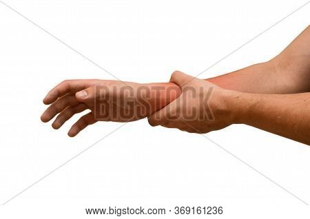 Man Suffers From Wrist Pain, Isolated. Causes Of Pain Include Sprained Wrist, Red Spot. Healthcare C