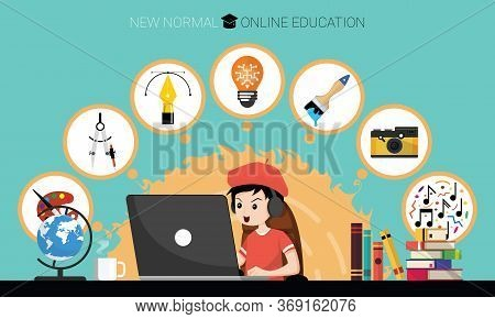 New Normal Concept And Physical Distancing. Boy Using Laptop For Online Education E-learning Art At