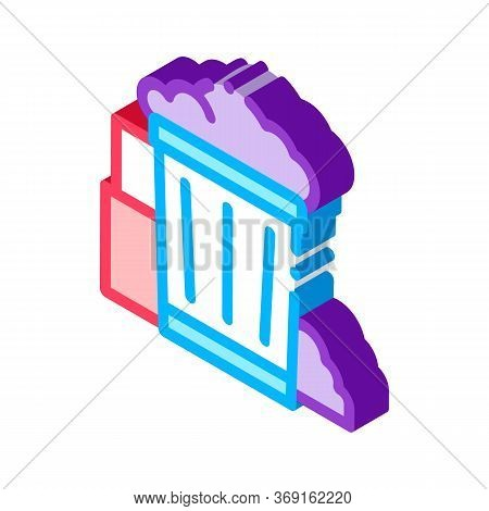 Container With Rubbish Trash Vector Isometric Sign. Color Isolated Symbol Illustration