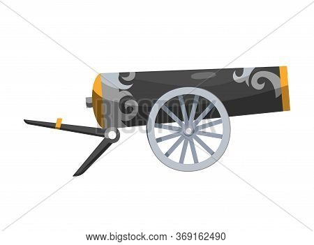Antique Pirate Cannon. Vintage Gun. Color Image Of Medieval Cannon For Old Ships On A White Backgrou