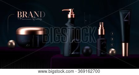 Vector 3d Elegant Cosmetic Products Set Background. Premium Cream Jar For Skin Care Products. Luxury
