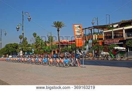 Marrakesh, Morocco - 12 October, 2019: Urban Transport In Morocco. Bicycles For Rent On A Street In