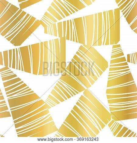 Abstract Golden Collage Seamless Vector Pattern. Faux Metallic Gold Foil Contemporary Art Seamless G