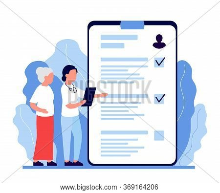 Senior Woman In Consultation With Doctor, Nurce. Health Monitoring In Old Age. Verification And Deco