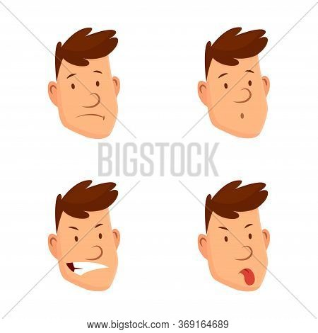 Man Face Expressions. Set Of Different Male Facial Emotions. Attractive Cartoon Character. Sad, Tire