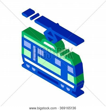 Public Transport Tramway Vector Isometric Sign. Color Isolated Symbol Illustration