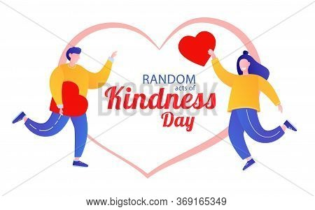 Random Acts Of Kindness Day Emblem Isolated Vector Illustration.