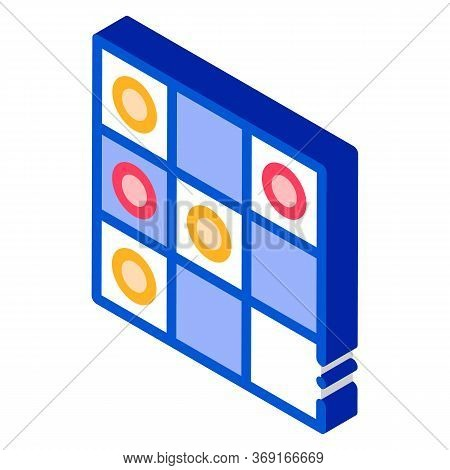 Interactive Kids Game Draughts Vector Isometric Sign. Color Isolated Symbol Illustration
