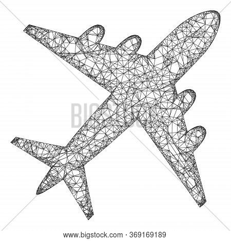 Web Net Airplane Vector Icon. Flat 2d Model Created From Airplane Pictogram. Abstract Frame Mesh Pol