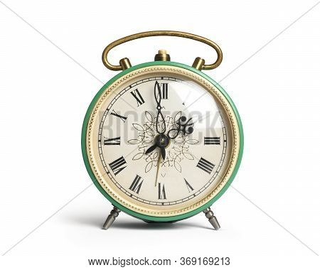 Vintage Green Alarm Clock With Roman Numerals  Isolated On White Background