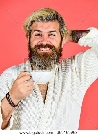 Guy In Domestic Clothes Hold Coffee Cup. Bearded Man With Mug. Breakfast Concept. Morning Begins Wit