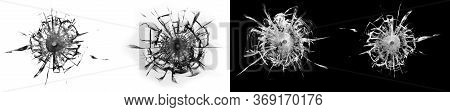 Seth Shattered Glass, Four Images Of Broken Glass With Cracks, A Shot In The Window, A Bullet Hole I