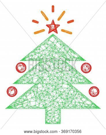 Web Mesh Christmas Fir Tree Vector Icon. Flat 2d Model Created From Christmas Fir Tree Pictogram. Ab
