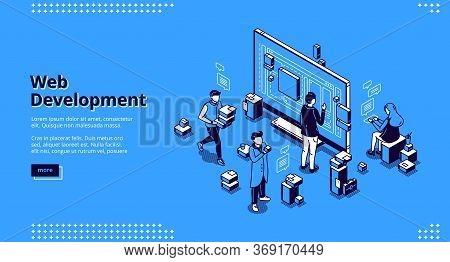 Web Development Isometric Landing Page. Programmers Coding Website Cross Platform, Adaptive Layout,