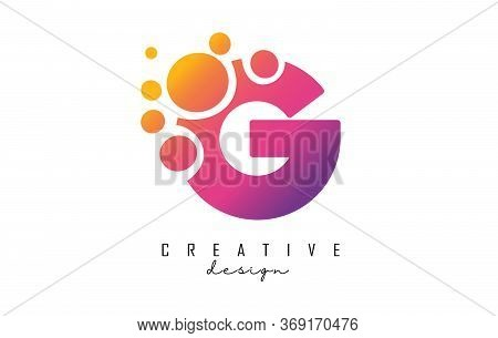 G Letter Logo With Blue Dots Design. Letter G Logotype With Bubbles Bunch. Corporate Branding Identi