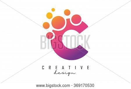 C Letter Logo With Blue Dots Design. Letter C Logotype With Bubbles Bunch. Corporate Branding Identi