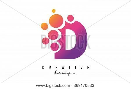 D Letter Logo With Blue Dots Design. Letter D Logotype With Bubbles Bunch. Corporate Branding Identi