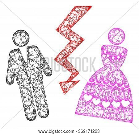 Web Mesh Divorce Persons Vector Icon. Flat 2d Model Created From Divorce Persons Pictogram. Abstract