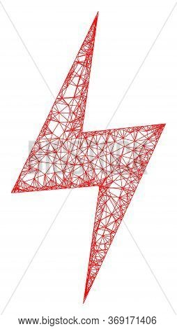 Web Mesh Electric Hazard Vector Icon. Flat 2d Carcass Created From Electric Hazard Pictogram. Abstra