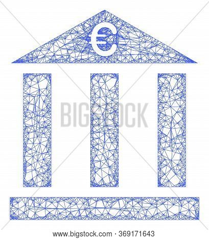 Web Mesh Euro Bank Building Vector Icon. Flat 2d Model Created From Euro Bank Building Pictogram. Ab